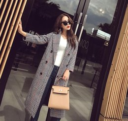 Wholesale Fashion Middle Length Plaid Women Outerwear Double Breasted Trench Sexy Slim Trench Coats Ladies Clothing Overcoat Wool Blends