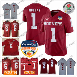 Men s Oklahoma Sooners  1 Kyler Murray White Orange Bowl Rose Patch Jerseys  Youth Kid NCAA  6 Baker Mayfield 2 Jalen Hurts Red White d41b149f6