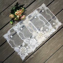$enCountryForm.capitalKeyWord Australia - New Tulle Lace Embroidery Fabric Small Table Cover Towel Coffee Mug Placemat Lamp Pad Drink Glass Coaster Set Home Kitchen Decor