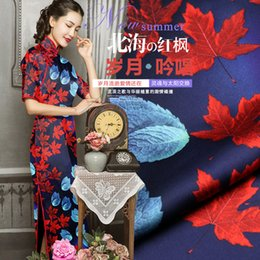 $enCountryForm.capitalKeyWord Australia - Maple Leaf Print Blue Mulberry Silk Fabric Elastic Cheongsam Material Vintage