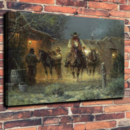 western art paintings UK - Western Cowboy Path Home Decor Handcrafts  HD Print Oil Painting On Canvas Wall Art Canvas Pictures 191103