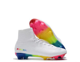 c05fbc33393c41 White Red Rainbow Designer Soccer Shoes Mercurial Superfly V FG Soccer  Cleats High Ankle Football boot Ronaldo Sport Sneakers