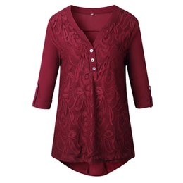 99b7845fade Plus Size 3xl 2019 Ladies Tops Womens Tops And Blouses Red Lace V Neck  Button Ladies Vintage Long Sleeve Women Shirts