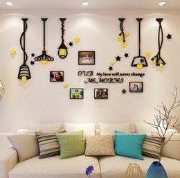 Cartoon Designs Wall Photos Australia - Creative Chandelier Euro 3d Acrylic Wall Stickers Photo Frame Stickers for Entrance living room TV sofa backdrop Wall Painting