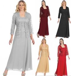 2019 Tanie Klejnot Neck Plus Size Matka panny młodej sukienki z kurtką w magazynie Długie rękawy 2 sztuki Długa Matka Formalna Party Wedding Suknia
