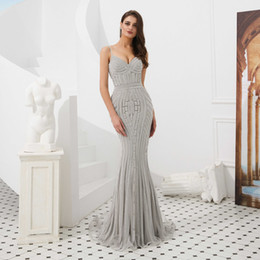 $enCountryForm.capitalKeyWord Australia - Grey Sequined Mermaid Prom Dresses South African Sexy Sweep Train Evening Gowns Formal For Women Occasion Party Dresses