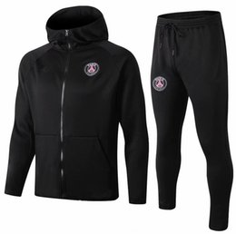 Wholesale 2018 PSG Long Pull Hat Paris Black jacket hoodie training suit Champions League Survetement PSG MBAPPE football jackets POGBA so