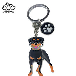 $enCountryForm.capitalKeyWord Australia - Rottweiler dog pendant key chains for men women silver color alloy metal bag charm male female car keychain key ring holder
