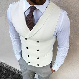 black suit ivory waistcoat NZ - Casual Ivory Business Men Waistcoat Groomsmen Outfits Men Suits for Wedding Man Attires 2Piece Vest Pants Trajes de hombre Terno Masculino