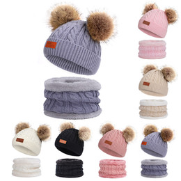 skull cycling set NZ - 201910 Hot Winter Thick Wool Hat Children Velvet Outdoor Warm Beanie Hats Baby Bib Two-Piece Set For Boys And Girls Warm Hats 6 Colors N39A