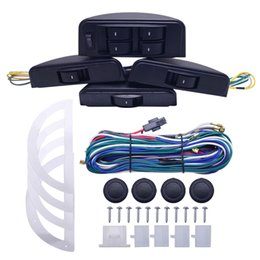 Power Windows Switches Australia - wholesale Universal Moon Electronic Car Power Window Switch 8pcs Switches With Holder And Wire Harness For 4 Doors SKU#:3852