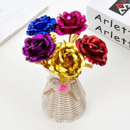 Roses dRied floweRs online shopping - Gold Foil Plated Rose Gold Leaf Rose Wedding Supplies Valentine s Day Birthday New Year Gifts Decorative Flowers Party Decor GGA1525