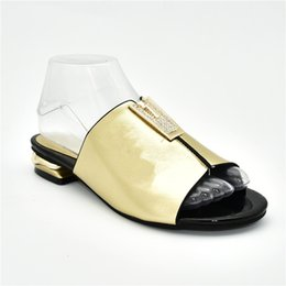 womens black sandals low heel Australia - New Fashion Womens Dress Sandals 2019 Slip on African Women Party Pumps Decorated with Rhinestone Ladies Sandals with Heels