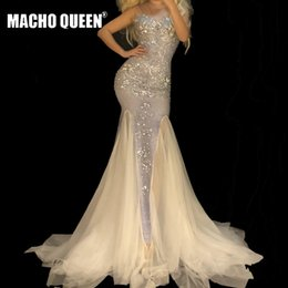 See Through Prom Dresses Rhinestones Australia - Sexy Drag Queen Costumes See Through Mesh Rhinestone Event Party Prom Long Dresses Celebrity Red Carpet Runway Stage