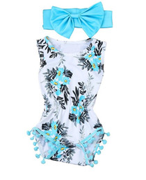 Body Tutu UK - Newborn Baby Girls clothes Flower ball sleeveless Romper Jumpsuit headbands baby clothes summer cotton Playsuit baby body suit