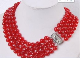 Discount pearls online shopping - necklac charming Rows MM Red Jade Round Beads Jewelry Necklace Discount