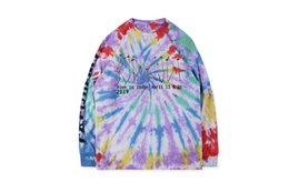 loose shirt tie dye Australia - Kanye wst Fei Dong with paragraph CPFM.XYZ illusions Tir-Dye tie dyed graffiti long-sleeved T-shirt sweater S-XL