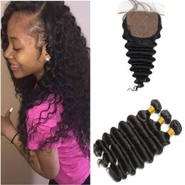 human hair weave part silk closures UK - Deep Wave Brazilian Virgin Human Hair Weaves with Silk Top Closure Free Middle 3 Part 4x4 Silk Base Closure with 3Bundles 4Pcs Lot
