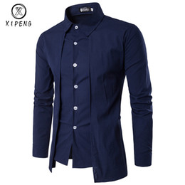 mens red shirt white collar Australia - New Arrival Autumn Men Shirt 2019 Unique Design Fake two pieces Stylish Mens Dress Shirt Long Sleeve Casual Slim Fit Male Shirts