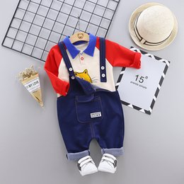 Wholesale Toddler Baby Boys Girls Clothes Sets Autumn Winter Cartoon Shirt Bib Pant Outfit Kids Clothes Suit For Baby Sets