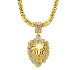 $enCountryForm.capitalKeyWord Australia - 18K gold Plated Water diamond lion head hip hop pendant necklace hiphop snake bone necklace