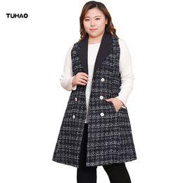 d637c0145fe TUHAO 2019 Spring Runway Office Lady Plus Size 10XL 8XL 6XL Long Vest  Sleeveless Coat Women Casual Coats BIG SIZE Outerwear MSFS
