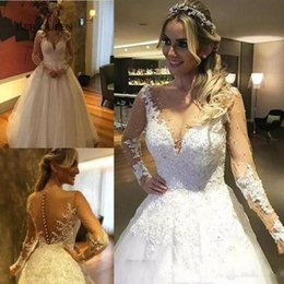 Wholesale White Ivory Appliques Princess Wedding Dresses Lace Bridal Ball Gown Plus Size Long Sleeve A line Sheer Neck Beaded Bridal Gown