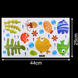 fish wall stickers for bathroom 2019 - Underwater Fish Starfish Bubble Wall Sticker For Kids Rooms Cartoon Nursery Bathroom Children Room Home Decor Wall Decal