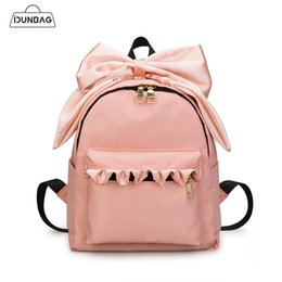 6085092a59bb 2019 FashionPink Cute Bow Ribbons Women Backpacks High Quality Nylon  Waterproof female Backpack School Bags for Girls Small Bagpack Mochilas