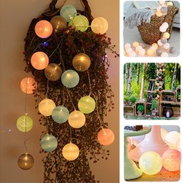 string light garland wholesale NZ - 20LEDs Cotton Ball LED String Light Battery Street Garland Fairy Lights Guirlande decoation led Christmas Wedding Party Supplies