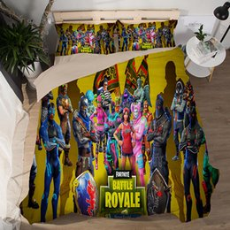 Kids Cartoon Bedding Set King Size Australia - Game Fortnite Duvet Cover US Twin Full Queen King size Quilt Covers with Double Pillow Case Kids Adult Fiber Cartoon Print Bedding Sheet Set