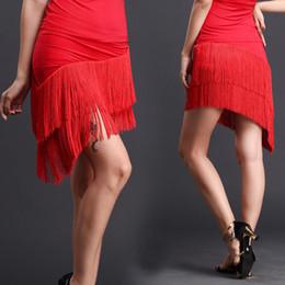 latin ballroom costumes for women 2019 - Tassel Latin Skirt Practice Dance Skirt Knee-high Latin Dance for Woman Ballroom costume performance wear Practice Dress