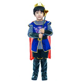 boy king crown Australia - Boy King Prince Cosplay Party Costume Children Halloween Costume Ball Deluxe King Set Kids Cool Crown Cloak Costume