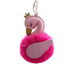 faux fur ball keychain UK - Fashion Women's Key chain Crown Swan Faux Fur Ball Keychain Women Keychains Car Key Ring Hanging Decor Gifts for Female Birthday