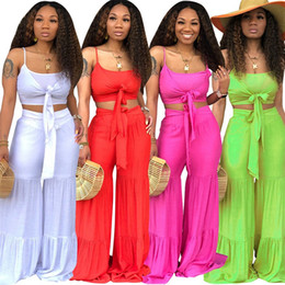 SuitS white colour online shopping - Woman Summer Camisole Sport Suits Pure Colour Fashion Wide Leg Trouser Suit Popular Fashion With White Red Green Colors In cm J1