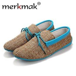 Discount men mocassins shoes - Merkmak Trendy Casual Men Beach Loafer Shoes Breathable Summer Weaving Hemp Man Flats Soft Driving Shoes Mocassins Drop