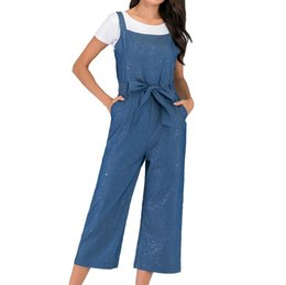 shine pants UK - Rompers womens jumpsuit lace long pants Fashion Woman Summer Wide Leg Straight Casual Denim Strap Shine Long Jumpsuit D300503