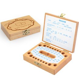 children baby teeth UK - 2019 Baby Tooth Box Milk Teeth Wood Storage Collection For Baby Kids Teeth Box Creative Children Teething Boxes Birthday Gift