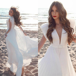 orange chiffon beach wedding dress Australia - Newest 2020 Beach Wedding Dresses Capped Sleeves Deep V Neck Sexy Wedding Gowns Long Chiffon A Line Bridal Dress China
