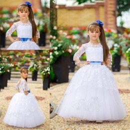 Ruffled long cheap wedding dResses online shopping - Crew Neck Princess Girls Dress Cute Illusion Flower Girl Dresses Embroidery Floor Length Lace Edge Lace up Dresses Pretty Kids Wear Cheap