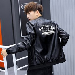 $enCountryForm.capitalKeyWord NZ - Autumn men's fashion letter printing PU leather Slim handsome baseball uniform jacket men's spring and autumn casual leather jacket