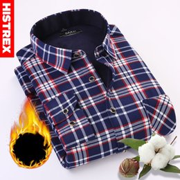 $enCountryForm.capitalKeyWord Australia - HISTREX Brand Men Shirt Navy Gray Red Plaid Long Sleeve Casual Man Autumn Winter Thick Warm Fleece Christmas gifts for men Shirt