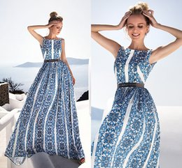 $enCountryForm.capitalKeyWord Canada - Glamorous Blue Printed Long Party Dresses 2019 Summer A Line Crew Neck Informal Evening Prom Gowns Cheap 2427