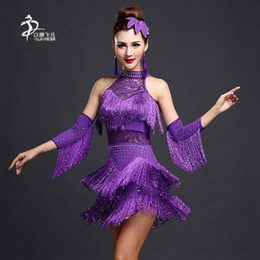 Women latin dance costumes online shopping - Latin Dance Competition Dresses Ladies Tassel Sequin Latin Salsa Dance Standard Costumes Colors S XL Size