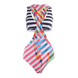 $enCountryForm.capitalKeyWord UK - Women Chest Sexy Bikinis One Piece Stripe Swimwear Push Up Wrap Bodysuit Swimsuit +Padded Bra Beachwear Bikini Set
