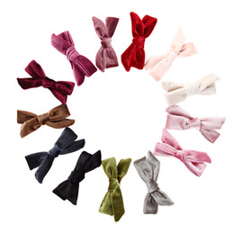 Hair clips for infants online shopping - 13 Colors Velvet Bow Hair Clip Knotted Bow Hair Pin Soft Infant Hair Accessories for School Girls JFNY101