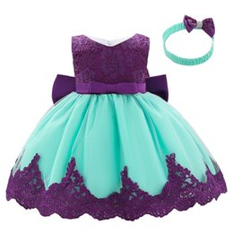 Girl birthday tutu dresses online shopping - Hot sale lace baby girls dress baby infant girl designer dresses princess dress headband baby girl st birthday party dresses A9355