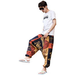 wide leg orange pants 2020 - Men Causal Flower Printed Hippy Baggy Boho Elastic Cross-Pants Loose Trousers Aladdin Wide Leg Cotton Linen Harem Pants