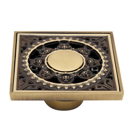 Wholesale High Quality Antique Brass Carved Flower Bath Drain Strainer Cover Art Bathroom Accessory Deodorant Floor Drain Waste Grate