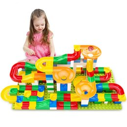 plastic building blocks toys big Australia - Marble Race Run Ball Maze Track Building Blocks DIY Funnel Plastic Slide Big Size Bricks Compatible Duplo Bricks